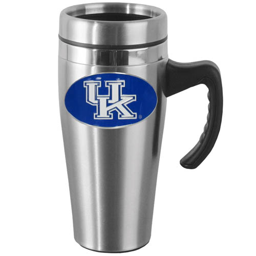 Kentucky Steel Mug w/Handle - Show off your school pride with this 14 oz stainless steel mug with brushed finish. The mug has a lid, handle and features a cast & enameled Kentucky Wildcats emblem. Thank you for shopping with CrazedOutSports.com