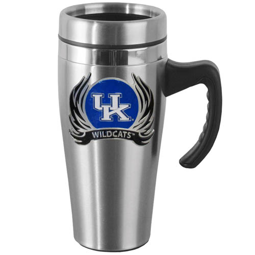 Kentucky Flame Steel Mug w/Handle - Show off your school pride with this 14 oz stainless steel mug with brushed finish. The mug has a lid, handle and features a cast & enameled Kentucky Wildcats emblem. Thank you for shopping with CrazedOutSports.com