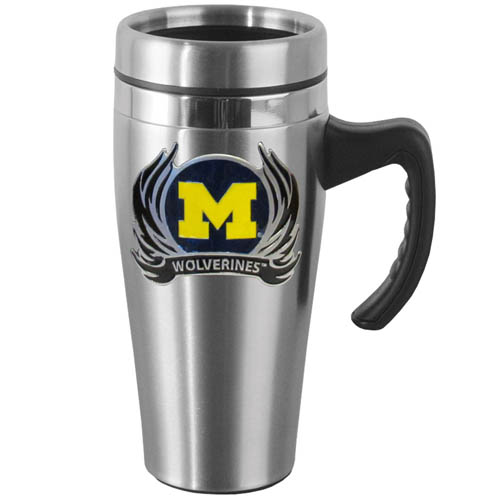 Michigan Wolverines Flame Stainless Steel Mug w/Handle - Show off your school pride with this 14 oz Michigan Wolverines Flame Stainless Steel Mug w/Handle with brushed finish. The Michigan Wolverines Flame Stainless Steel Mug w/Handle features a cast & enameled Michigan Wolverines emblem. Thank you for shopping with CrazedOutSports.com