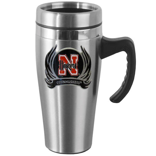 Nebraska Flame Steel Mug w/Handle - Show off your school pride with this 14 oz stainless steel mug with brushed finish. The mug has a lid, handle and features a cast & enameled Nebraska Cornhuskers emblem. Thank you for shopping with CrazedOutSports.com