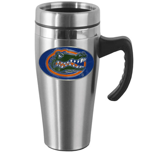 Florida Gators Steel Mug w/Handle - Show off your Florida Gators school pride with this 14 oz stainless steel mug with brushed finish. The mug has a lid, handle and features a cast & enameled Florida Gators emblem. Thank you for shopping with CrazedOutSports.com