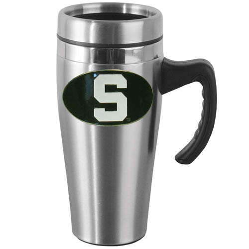 Michigan St. Steel Mug w/Handle - Show off your school pride with this 14 oz stainless steel mug with brushed finish. The mug has a lid, handle and features a cast & enameled Michigan St. Spartans emblem. Thank you for shopping with CrazedOutSports.com