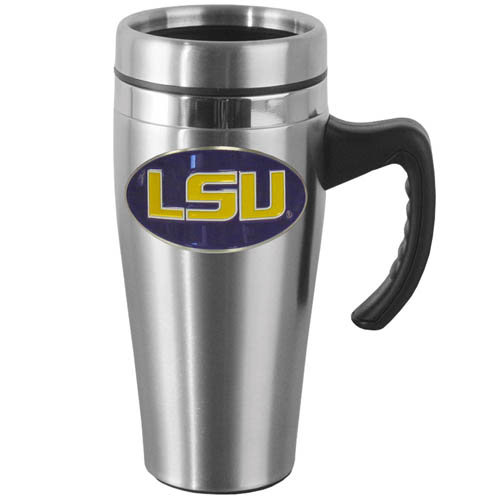 LSU Tigers Steel Mug w/Handle - Show off your school pride with this14 oz stainless steel LSU Tigers Mug w/Handle with brushed finish. The LSU Tigers Steel Mug w/Handle has a lid, handle and features a cast & enameled school emblem. Thank you for shopping with CrazedOutSports.com