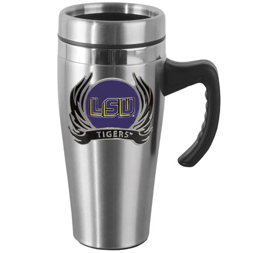 LSU Tigers Flame Steel Mug w/Handle - Show off your school pride with this 14 oz stainless steel LSU Tigers mug with brushed finish. The mug has a lid, handle and features a cast & enameled LSU Tigers emblem. Thank you for shopping with CrazedOutSports.com