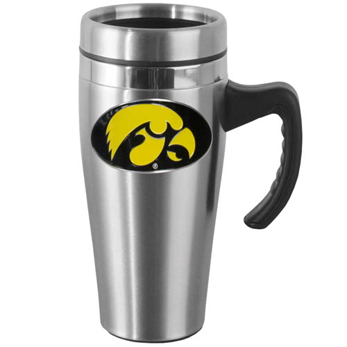 Iowa Hawkeyes Steel Mug w/Handle - Show off your school pride with this Iowa Hawkeyes 14 oz stainless steel mug with brushed finish. The mug has a lid, handle and features a cast & enameled Iowa Hawkeyes emblem. Thank you for shopping with CrazedOutSports.com