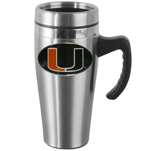 Miami Hurricanes Stainless Steel Mug w/Handle - Show off your school pride with this 14 oz Miami Hurricanes Steel Mug w/Handle with brushed finish. The Miami Hurricanes Steel Mug w/Handle has a lid, handle and features a cast & enameled Miami Hurricanes emblem. Thank you for shopping with CrazedOutSports.com