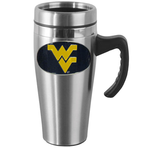 W. Virginia Steel Mug w/Handle - Show off your school pride with this 14 oz stainless steel mug with brushed finish. The mug has a lid, handle and features a cast & enameled W. Virginia Mountaineers emblem. Thank you for shopping with CrazedOutSports.com