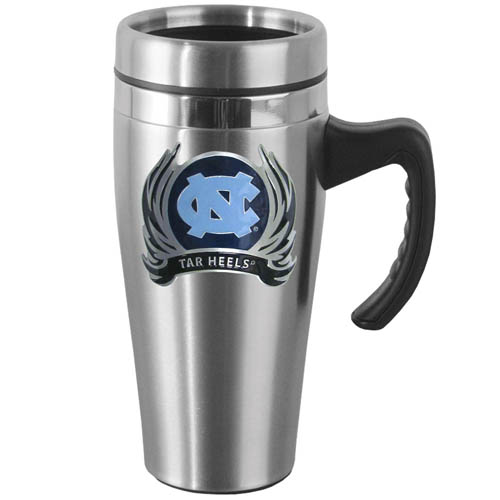N. Carolina Steel Mug w/Handle - Show off your school pride with this 14 oz stainless steel mug with brushed finish. The mug has a lid, handle and features a cast & enameled N. Carolina Tar Heels emblem. Thank you for shopping with CrazedOutSports.com