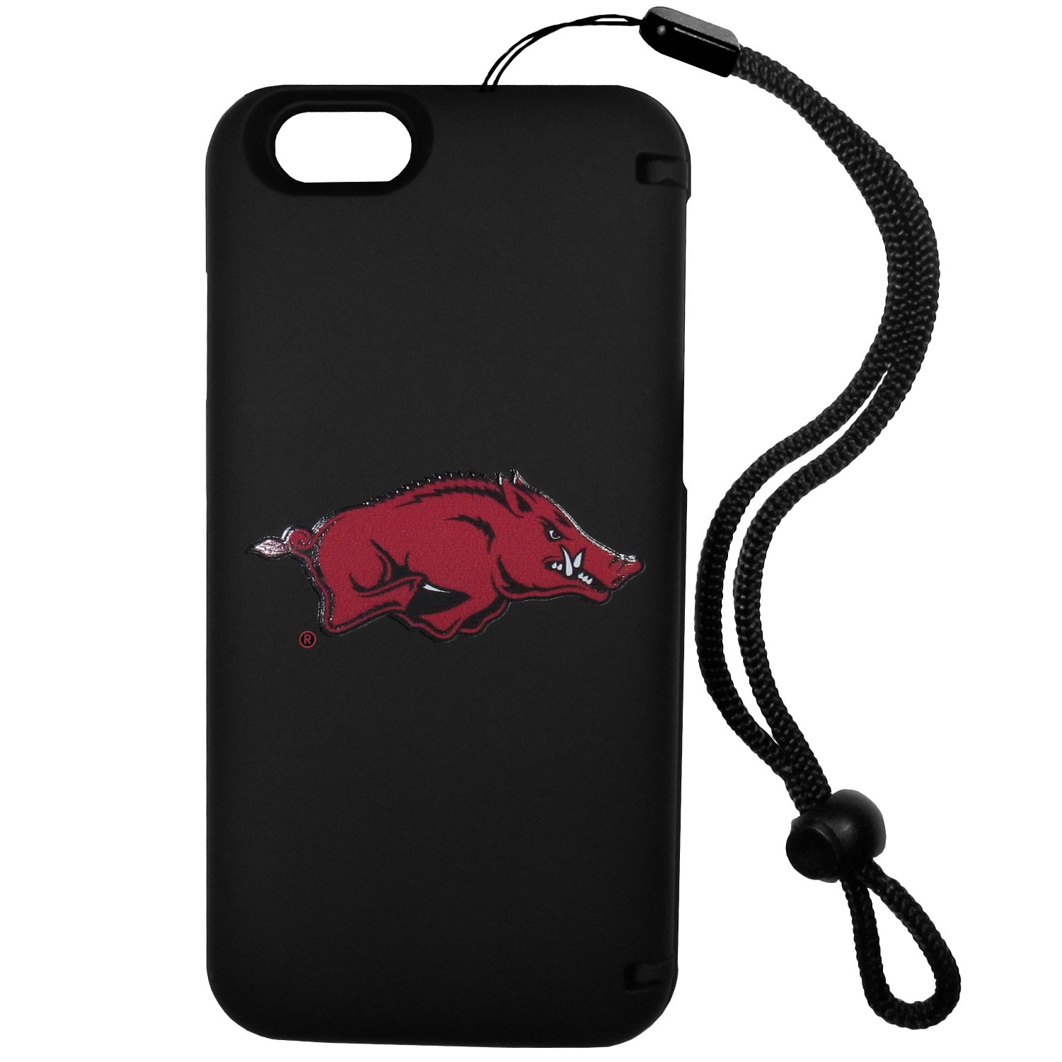 Arkansas Razorbacks iPhone 6 Everything Case - This case really does have everything but the kitchen sink! The hidden compartment lets you keep your cards, money and tickets to the big game safe and secure and has a compact mirror so you can make sure your game face is ready to go. It also comes with a kickstand to make chatting and watching videos a breeze. The wrist strap allows you to travel with ease with your everything case. If that's not enough, it also comes with the Arkansas Razorbacks logo printed in expert detail on the front.