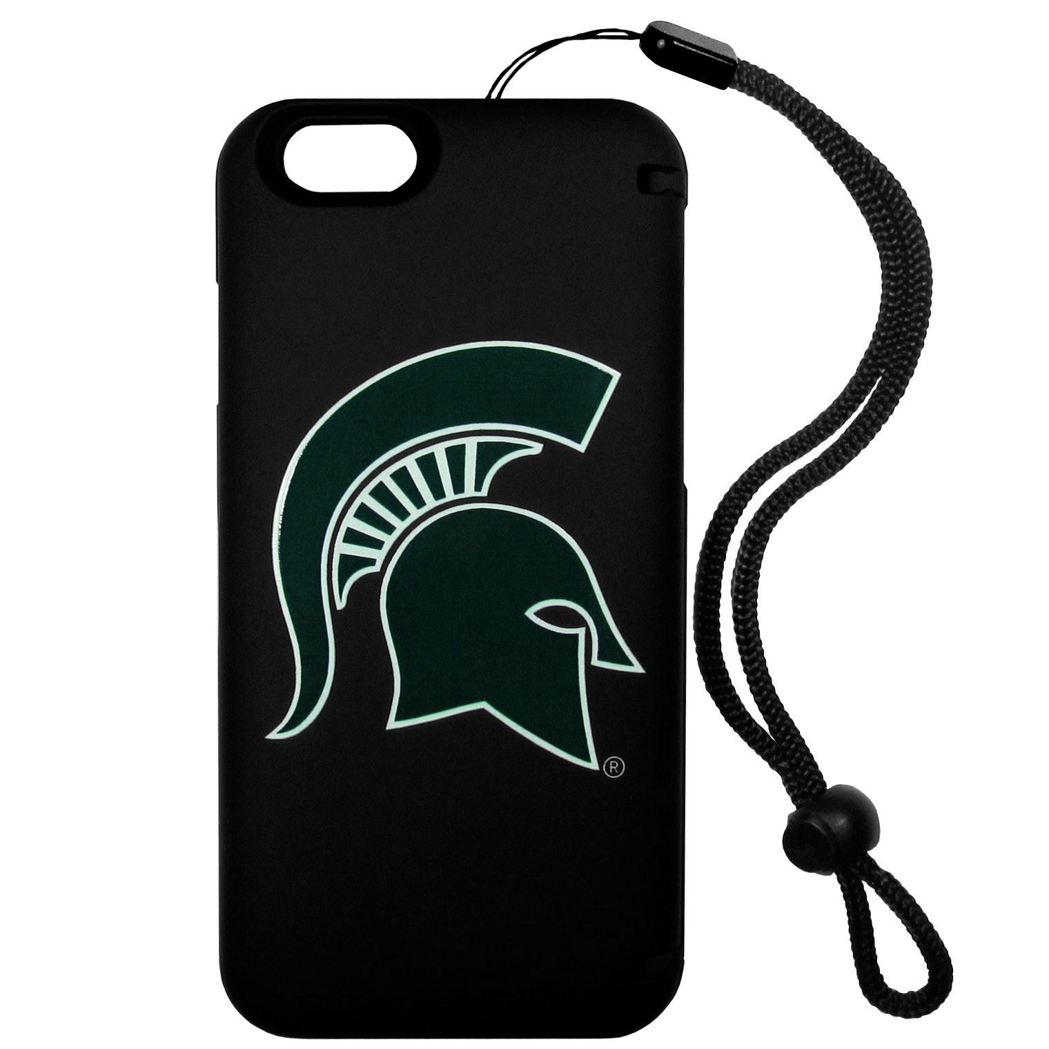 Michigan St. Spartans iPhone 6 Everything Case - This case really does have everything but the kitchen sink! The hidden compartment lets you keep your cards, money and tickets to the big game safe and secure and has a compact mirror so you can make sure your game face is ready to go. It also comes with a kickstand to make chatting and watching videos a breeze. The wrist strap allows you to travel with ease with your everything case. If that's not enough, it also comes with the Michigan St. Spartans logo printed in expert detail on the front.