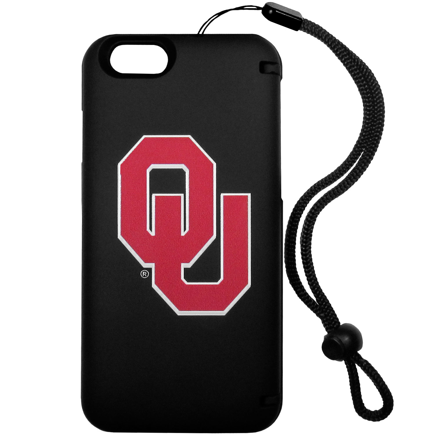 Oklahoma Sooners iPhone 6 Everything Case - This case really does have everything but the kitchen sink! The hidden compartment lets you keep your cards, money and tickets to the big game safe and secure and has a compact mirror so you can make sure your game face is ready to go. It also comes with a kickstand to make chatting and watching videos a breeze. The wrist strap allows you to travel with ease with your everything case. If that's not enough, it also comes with the Oklahoma Sooners logo printed in expert detail on the front.