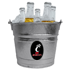 Collegiate Ice Bucket - Cincinnati Bearcats - Our 1 gallon collegiate ice bucket features a metal Cincinnati Bearcats logo with enameled finish. The bucket is the perfect tailgating accessory or backyard BBQ. Thank you for shopping with CrazedOutSports.com