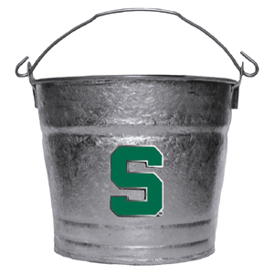 Michigan St. Spartans Collegiate Ice Bucket - This 1 gallon Michigan St. Spartans Collegiate Ice Bucket features a metal school logo with enameled finish. The Michigan St. Spartans Collegiate Ice Bucket is the perfect tailgating accessory or backyard BBQ. Thank you for shopping with CrazedOutSports.com