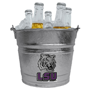 Collegiate Ice Bucket - LSU Tigers - This LSU Tigers 1 gallon collegiate ice bucket features a metal school logo with enameled finish. The bucket is the perfect tailgating accessory or backyard BBQ. Thank you for shopping with CrazedOutSports.com