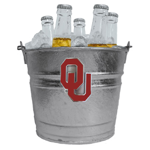 Collegiate Ice Bucket - Oklahoma Sooners - Our 1 gallon collegiate ice bucket features a metal school logo with enameled finish. The bucket is the perfect tailgating accessory or backyard BBQ. Thank you for shopping with CrazedOutSports.com