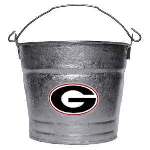 Collegiate Ice Bucket - Georgia Bulldogs - This Georgia Bulldogs 1 gallon collegiate ice bucket features a metal school logo with enameled finish. The bucket is the perfect tailgating accessory or backyard BBQ. Thank you for shopping with CrazedOutSports.com