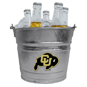 Collegiate Ice Bucket - Colorado Buffaloes - Our 1 gallon collegiate ice bucket features a metal Colorado Buffaloes logo with enameled finish. The bucket is the perfect tailgating accessory or backyard BBQ. Thank you for shopping with CrazedOutSports.com