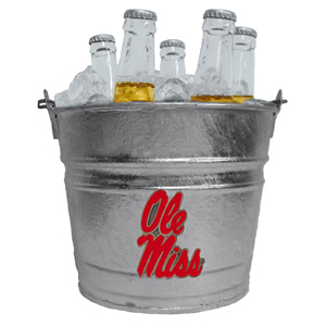 Mississippi Rebels Collegiate Ice Bucket - This 1 gallon Mississippi Rebels Collegiate Ice Bucket features a metal school logo with enameled finish. The Mississippi Rebels Collegiate Ice Bucket is the perfect tailgating accessory or backyard BBQ. Thank you for shopping with CrazedOutSports.com