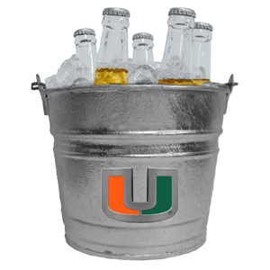 Miami Hurricanes Collegiate Ice Bucket - This 1 gallon Miami Hurricanes collegiate ice bucket features a metal school logo with enameled finish. The bucket is the perfect tailgating accessory or backyard BBQ. Thank you for shopping with CrazedOutSports.com