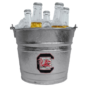 Collegiate Ice Bucket - S. Carolina Gamecocks - Our 1 gallon collegiate ice bucket features a metal school logo with enameled finish. The bucket is the perfect tailgating accessory or backyard BBQ. Thank you for shopping with CrazedOutSports.com
