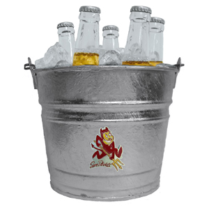 Collegiate Ice Bucket - Arizona St. Sun Devils - Our 1 gallon Arizona State Sun Devils collegiate ice bucket features a metal school logo with enameled finish. The bucket is the perfect tailgating accessory or backyard BBQ. Thank you for shopping with CrazedOutSports.com