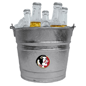 Collegiate Ice Bucket - Florida St. Seminoles - Our 1 gallon collegiate ice bucket features a metal Florida State Seminoles logo with enameled finish. The bucket is the perfect tailgating accessory or backyard BBQ. Thank you for shopping with CrazedOutSports.com