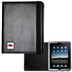 Arkansas Razorbacks iPad Case - The perfect iPad accessory. The black case hold the iPad 1 and the iPad 2 with Smart Cover and features a cast and enameled Arkansas Razorbacks school emblem. Thank you for shopping with CrazedOutSports.com