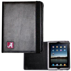 Alabama Crimson Tide iPad Case - The perfect iPad accessory. The black leather case hold the iPad 1 and the iPad 2 with Smart Cover and features a cast and enameled Alabama Crimson Tide school emblem. Thank you for shopping with CrazedOutSports.com