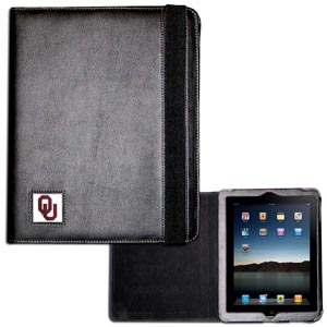 Oklahoma iPad Case - The perfect iPad accessory. The black case hold the iPad 1 and the iPad 2 with Smart Cover and features a cast and enameled school emblem. Thank you for shopping with CrazedOutSports.com