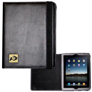 Colorado Buffaloes iPad 2 Case - The perfect iPad accessory. The black leather case fits the iPad 2 and iPad 3 and allows you to access all functions easily while the device remains in the case. The case features a cast and enameled Colorado Buffaloes emblem. Thank you for shopping with CrazedOutSports.com