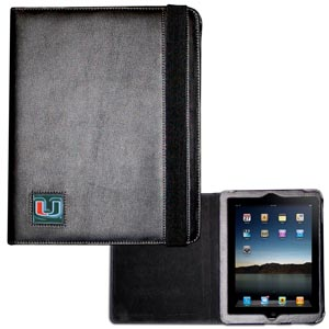 Miami Hurricanes iPad1 and iPad 2 Case - The perfect iPad accessory. The Miami Hurricanes iPad1 and iPad 2 black case hold the iPad 1 and the iPad 2 with Smart Cover and features a cast and enameled school emblem. Thank you for shopping with CrazedOutSports.com
