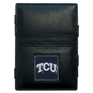TCU Jacob's Ladder Wallet - This innovative jacob's ladder wallet design traps cash with just a simple flip of the wallet! There are also outer pockets to store your ID and credit cards. The wallet is made of fine quality leather with an enameled school emblem. Thank you for shopping with CrazedOutSports.com