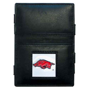 Arkansas Razorbacks Leather Jacob's Ladder Wallet - This innovative jacob's ladder wallet design traps cash with just a simple flip of the wallet! There are also outer pockets to store your ID and credit cards. The wallet is made of fine quality leather with an enameled Arkansas Razorbacks school emblem. Thank you for shopping with CrazedOutSports.com