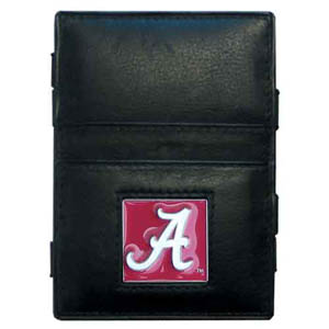 Alabama Crimson Tide Leather Jacob's Ladder Wallet - This innovative jacob's ladder wallet design traps cash with just a simple flip of the wallet! There are also outer pockets to store your ID and credit cards. The wallet is made of fine quality leather with an enameled Alabama Crimson Tide school emblem. Thank you for shopping with CrazedOutSports.com