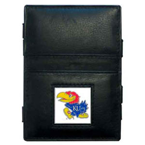 Kansas Jayhawks Leather Jacob's Ladder Wallet - This Kansas Jayhawks innovative jacob's ladder wallet design traps cash with just a simple flip of the wallet! There are also outer pockets to store your ID and credit cards. The Kansas Jayhawks Leather Jacob's Ladder Wallet is made of fine quality leather with an enameled school emblem. Thank you for shopping with CrazedOutSports.com
