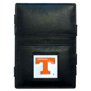 Tennessee Leather Jacob's Ladder Wallet - This innovative jacob's ladder wallet design traps cash with just a simple flip of the wallet! There are also outer pockets to store your ID and credit cards. The wallet is made of fine quality leather with an enameled school emblem. Thank you for shopping with CrazedOutSports.com