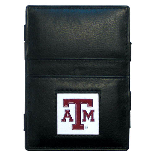 Texas AandM Leather Jacob's Ladder Wallet - This innovative jacob's ladder wallet design traps cash with just a simple flip of the wallet! There are also outer pockets to store your ID and credit cards. The wallet is made of fine quality leather with an enameled school emblem. Thank you for shopping with CrazedOutSports.com