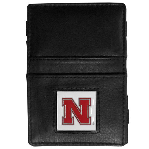 Nebraska Leather Jacob's Ladder Wallet - This innovative jacob's ladder wallet design traps cash with just a simple flip of the wallet! There are also outer pockets to store your ID and credit cards. The wallet is made of fine quality leather with an enameled school emblem. Thank you for shopping with CrazedOutSports.com