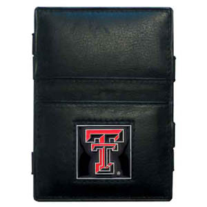 Texas Tech Leather Jacob's Ladder Wallet - This innovative jacob's ladder wallet design traps cash with just a simple flip of the wallet! There are also outer pockets to store your ID and credit cards. The wallet is made of fine quality leather with an enameled school emblem. Thank you for shopping with CrazedOutSports.com