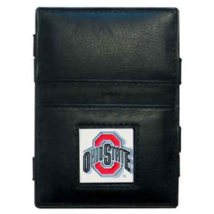 Ohio St. Leather Jacob's Ladder Wallet - This innovative jacob's ladder wallet design traps cash with just a simple flip of the wallet! There are also outer pockets to store your ID and credit cards. The wallet is made of fine quality leather with an enameled school emblem. Thank you for shopping with CrazedOutSports.com