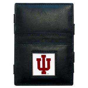 Indiana Hoosiers Leather Jacob's Ladder Wallet - This Indiana Hoosiers jacob's ladder wallet design traps cash with just a simple flip of the wallet! There are also outer pockets to store your ID and credit cards. The wallet is made of fine quality leather with an enameled school emblem. Thank you for shopping with CrazedOutSports.com