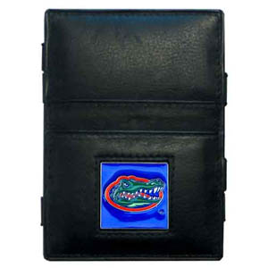 Florida Gators Leather Jacob's Ladder Wallet - This innovative jacob's ladder wallet design traps cash with just a simple flip of the wallet! There are also outer pockets to store your ID and credit cards. The wallet is made of fine quality leather with an enameled Florida Gators school emblem. Thank you for shopping with CrazedOutSports.com