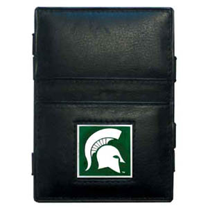 Michigan St. Leather Jacob's Ladder Wallet - This innovative jacob's ladder wallet design traps cash with just a simple flip of the wallet! There are also outer pockets to store your ID and credit cards. The wallet is made of fine quality leather with an enameled school emblem. Thank you for shopping with CrazedOutSports.com