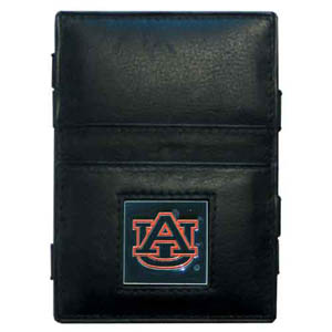 Auburn Tigers Leather Jacob's Ladder Wallet - This innovative jacob's ladder wallet design traps cash with just a simple flip of the wallet! There are also outer pockets to store your ID and credit cards. The wallet is made of fine quality leather with an enameled Auburn Tigers school emblem. Thank you for shopping with CrazedOutSports.com