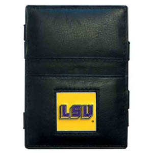 LSU Tigers Leather Jacob's Ladder Wallet - This innovative LSU Tigers jacob's ladder wallet design traps cash with just a simple flip of the wallet! There are also outer pockets to store your ID and credit cards. The LSU Tigers Leather Jacob's Ladder wallet is made of fine quality leather with an enameled school emblem. Thank you for shopping with CrazedOutSports.com