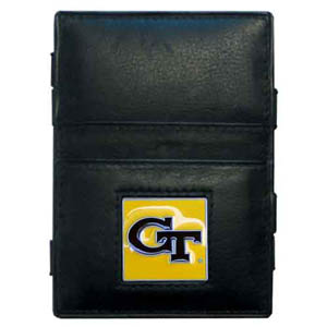 Georgia Tech Leather Jacob's Ladder Wallet - This innovative jacob's ladder wallet design traps cash with just a simple flip of the wallet! There are also outer pockets to store your ID and credit cards. The wallet is made of fine quality leather with an enameled school emblem. Thank you for shopping with CrazedOutSports.com
