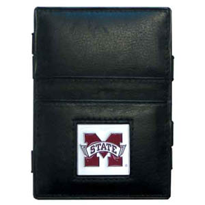 Mississippi St. Leather Jacob's Ladder Wallet - This innovative jacob's ladder wallet design traps cash with just a simple flip of the wallet! There are also outer pockets to store your ID and credit cards. The wallet is made of fine quality leather with an enameled school emblem. Thank you for shopping with CrazedOutSports.com