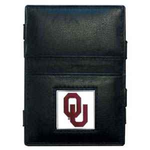 Oklahoma Leather Jacob's Ladder Wallet - This innovative jacob's ladder wallet design traps cash with just a simple flip of the wallet! There are also outer pockets to store your ID and credit cards. The wallet is made of fine quality leather with an enameled school emblem. Thank you for shopping with CrazedOutSports.com