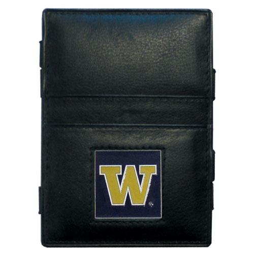 Washington Leather Jacob's Ladder Wallet - This innovative jacob's ladder wallet design traps cash with just a simple flip of the wallet! There are also outer pockets to store your ID and credit cards. The wallet is made of fine quality leather with an enameled school emblem. Thank you for shopping with CrazedOutSports.com
