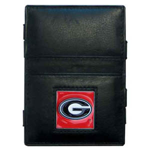Georgia Bulldogs Leather Jacob's Ladder Wallet - This innovative Georgia Bulldogs leather jacob's ladder wallet design traps cash with just a simple flip of the wallet! There are also outer pockets to store your ID and credit cards. The wallet is made of fine quality leather with an enameled Georgia Bulldogs school emblem. Thank you for shopping with CrazedOutSports.com